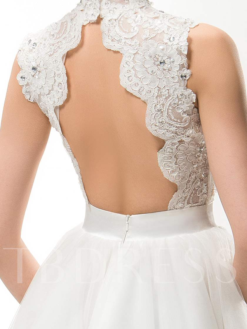 High Neck Appliques Short Beach Wedding Dress