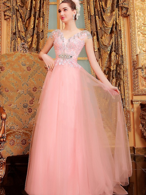 V-Neck Cap Sleeves Applique Beading Rhinestone Prom Dress