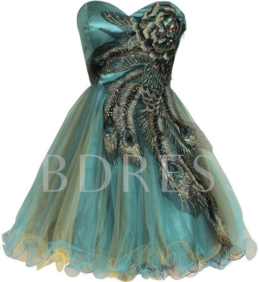 A-Line Sweetheart Embroidery Beading Yarn Short-Length Cocktail/Party Dress