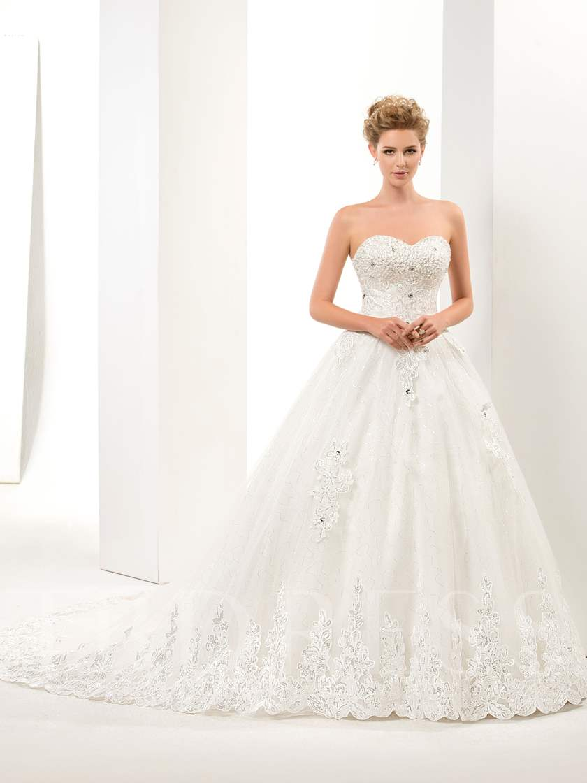 Sequins Appliques Beading Lace-Up Wedding Dress