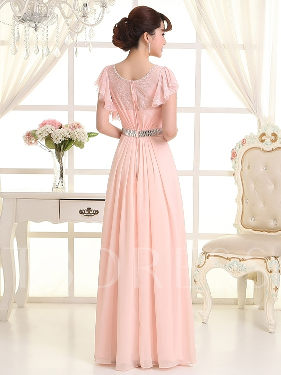 Beaded Short Sleeves Lace Bridesmaid Dress