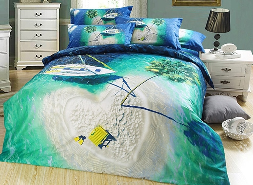 Heart Shaped Isle and Dark Green Sea Print 3D Bedding Sets/Duvet Covers