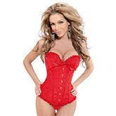 Overbust Agraffe Lace-Up Jacquard Women's Corsets ( Plus Size Available )