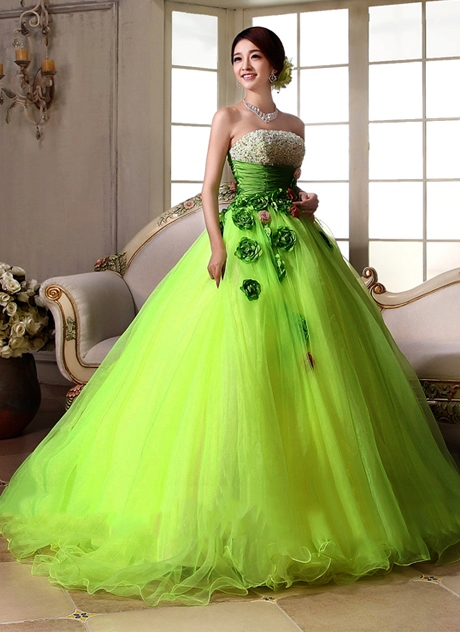 Strapless Sequins Beading Flowers A-Line Floor-Length Quinceanera Dress