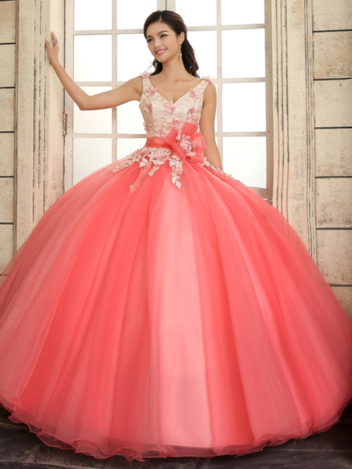 V-Neck A-Line Straps Lace Flowers Lace-up Floor-Length Quinceanera Dress
