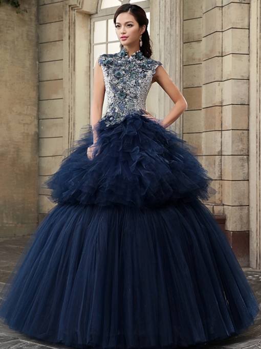 High Neck Lace Appliques Ruffles Floor-Length Ball Gown/Quinceanera Dress