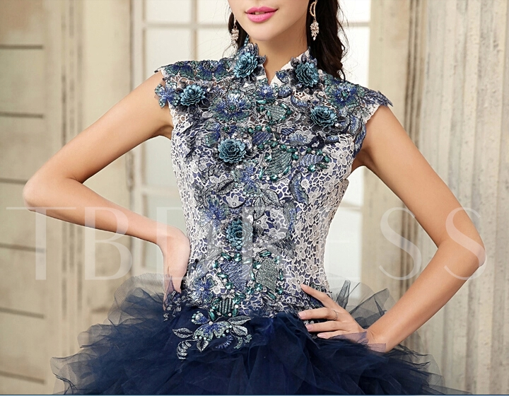 Ball Gown High Neck Appliques Lace Quinceanera Dress