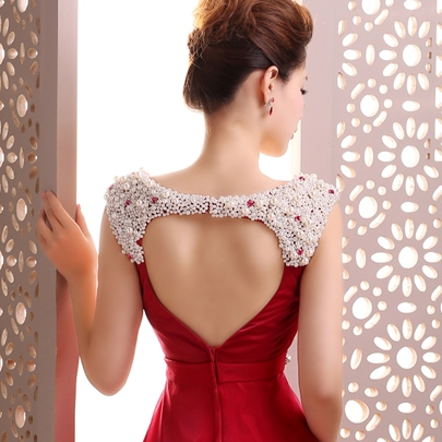 A-Line Straps Pearls Beading Evening Dress