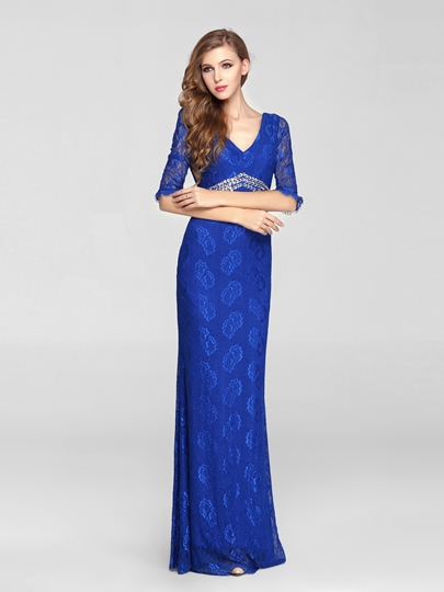 Half Sleeves V-Neck Beads Sheath/Column Lace Evening Dress