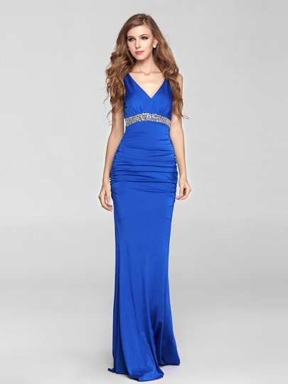 Mermaid V-Neck Beading Floor Length Blue Evening Dress