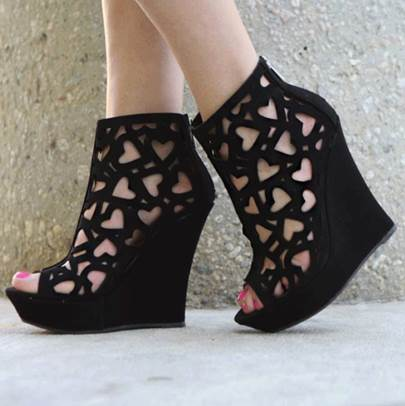 Hollow Wedge Heel Peep Toe Women's Sandals (Plus Size Available)