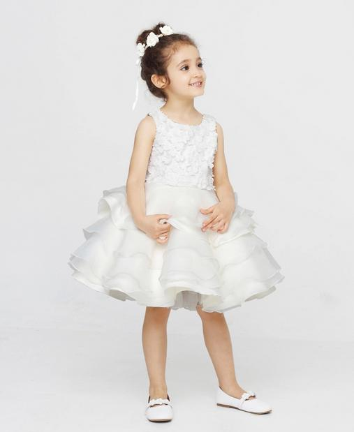 Ball Gown Knee-length Scoop Zipper-up Buttons Tiered Flower Girl Dress