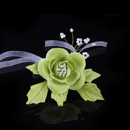 Green Flower Pearl Bracelet Wedding Wrist Corsage