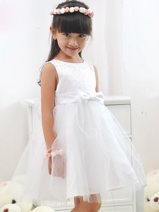 A-line Knee-length Scoop Zipper-up Bowknot Beading Flower Girl Dress