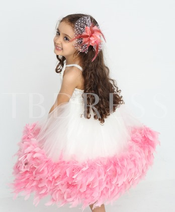 A-line Knee-length Spaghetti Straps Lace Embroider Flower Girl Dress