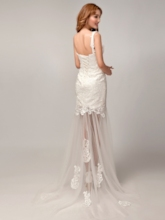 One Shoulder Lace Appliques Beach Wedding Dress