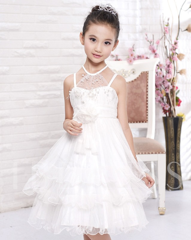Image of Princess A-line Knee-length Halter Neck Tiered Flower Girl Dress