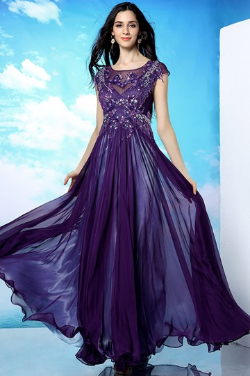 Scoop Floor-Length Beading Zipper-Up Prom Dress