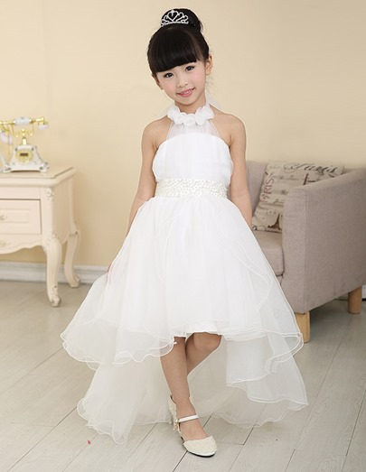 Asymmetry Train Halter Neck Sweep/brush Flower Girl Dress