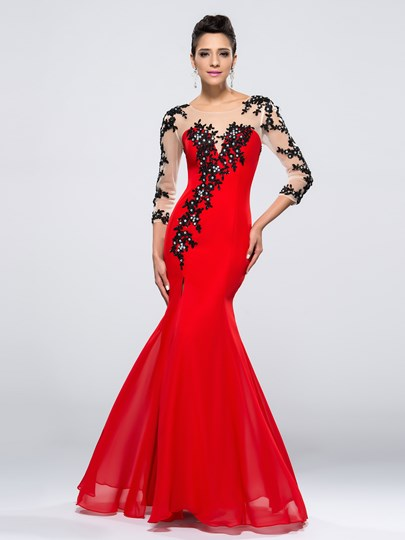 Appliques Split-Front Evening Dress