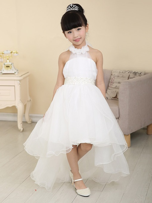 Flowers Asymmetry Halter Neck Flower Girl Dress