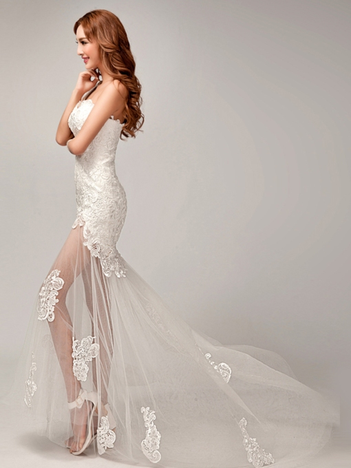One Shoulder Lace Asymmetry Applique Lace-Up Beah Wedding Dress