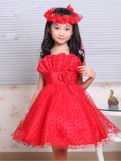 A-line Spaghetti Straps Heart-shape Pattern Flower Girl Dress