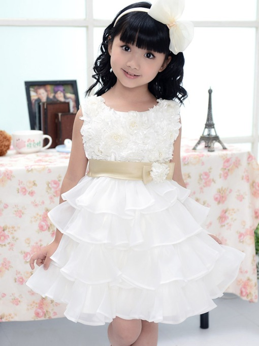 Tiered Bowknot Flower Girl Dress