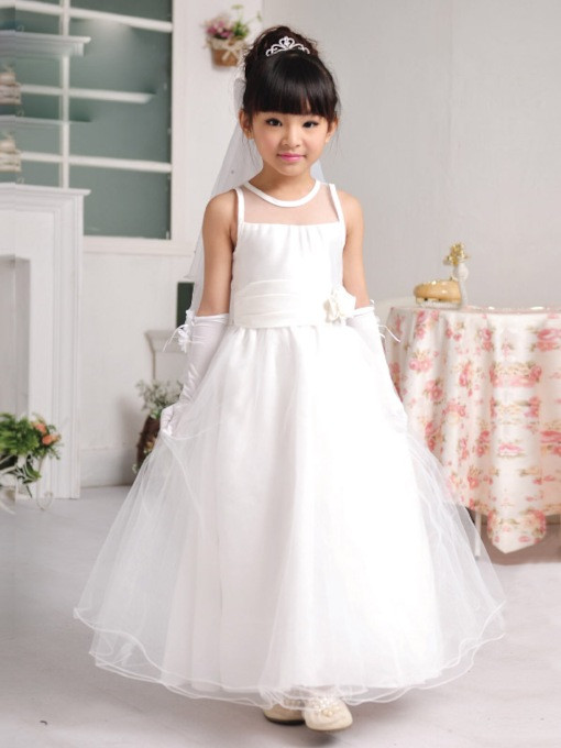 A-line Ankle-length Scoop Neck Bowknot Flower Girl Dress