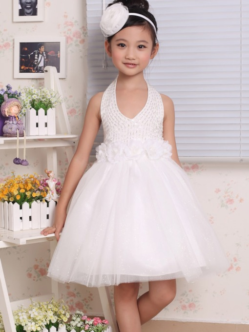 Ball Gown Knee-length Halter Beading Bowknot Flower Girl Dress