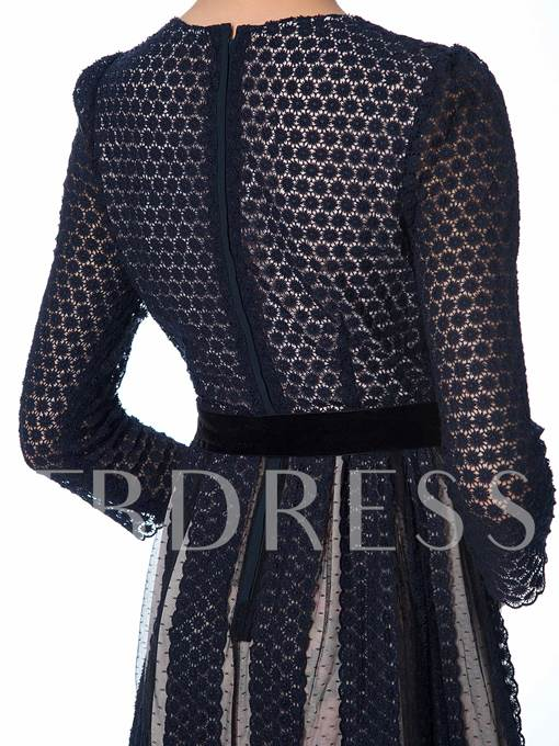 Embroidered Three Quarter Sleeve Women's Day Dress