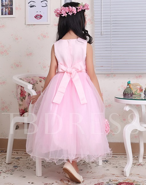 Tea-length Scoop Zipper-up Bowknot Flower Girl Dress