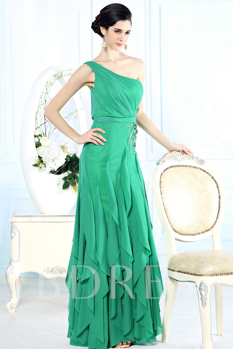 A-Line One Shoulder Embroidery Tiered Floor-Length Evening Dress