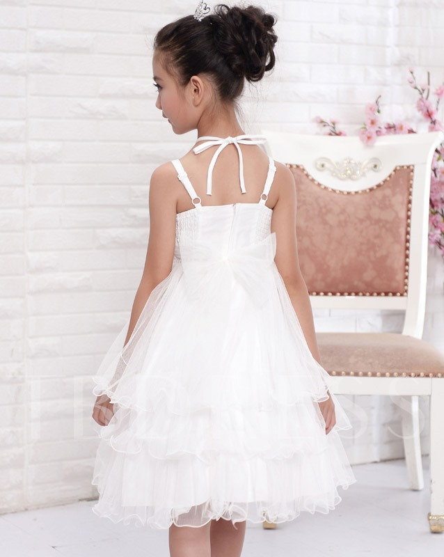 Princess A-line Knee-length Halter Neck Tiered Flower Girl Dress