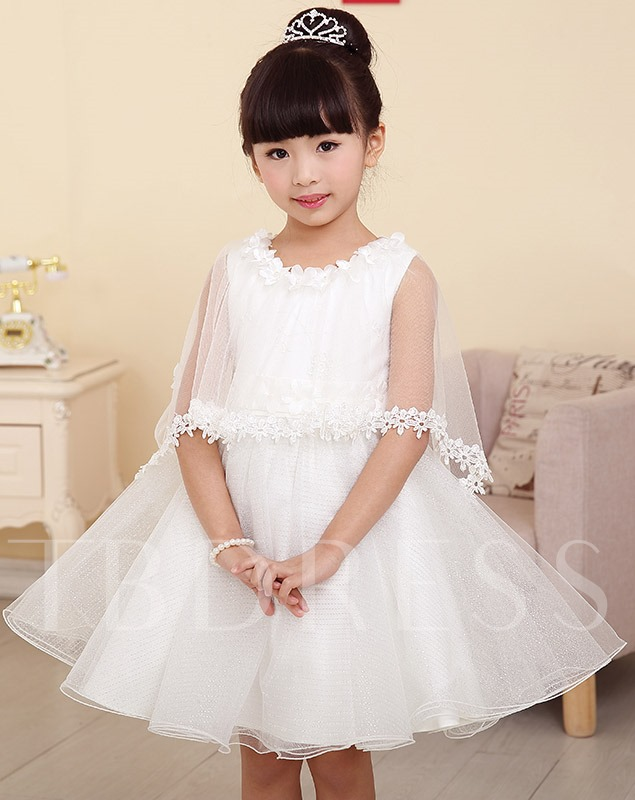Princess Style Short/mini Scoop Flower Girl Dress with Jacket