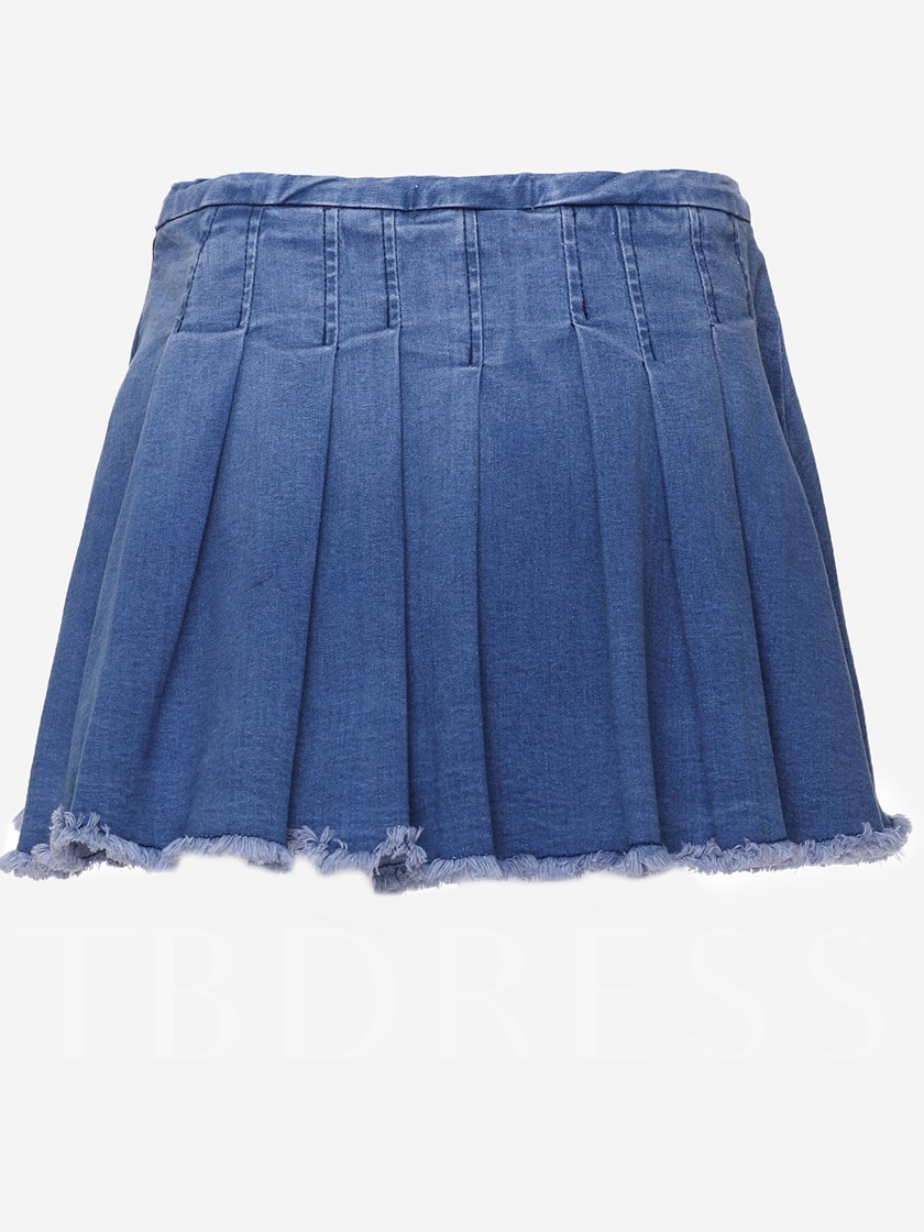 Blue Patchwork Pleated Jeans Mini Skirt