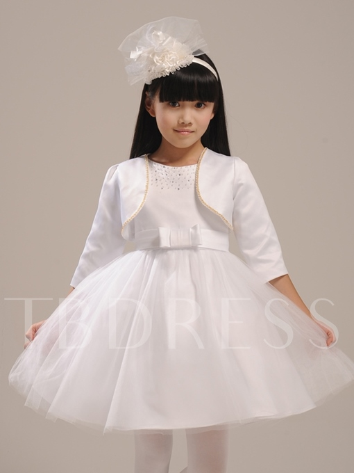 Beaded Scoop Neck Flower Girl Dress With Jacket