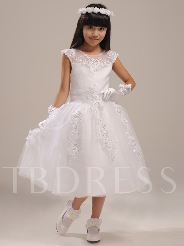 Scoop Neck Zipper-Up Tea-Length Bowknot Applique Beading Flower Girl Dress