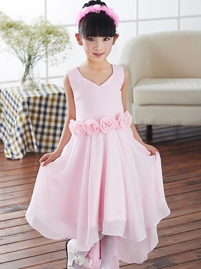 V Neck Zipper-Up Asymmetry Flower Sashes Flower Girl Dress