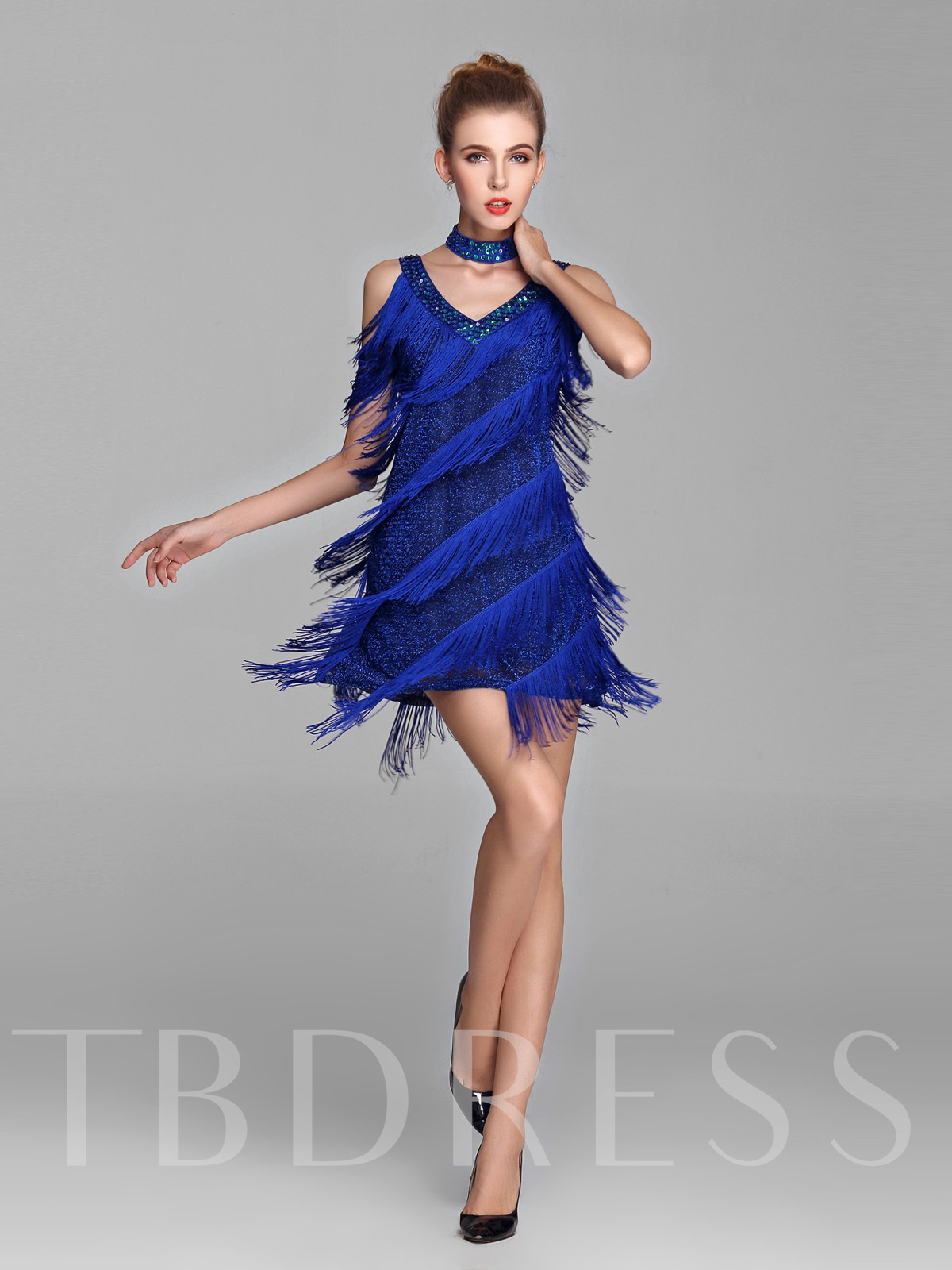 Image of A-Line Straps Beading Evening Dress