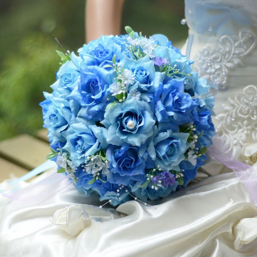 Best Cloths Blue Flowers Wedding Bouquet