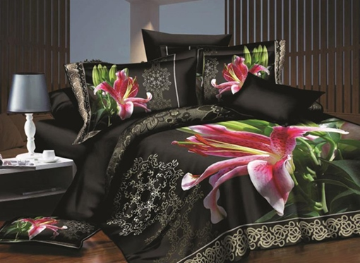 Charming Pink Lily Print 4-Piece Polyester 3D Duvet Cover Sets