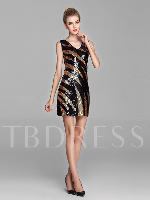 Sheath Sequins V-Neck Short Prom Dress