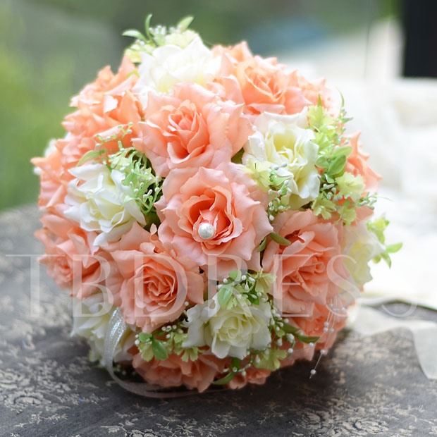 Best Cloths Orange And Ivory Flowers Wedding Bouquet