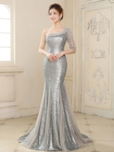 Reflective Dress Mermaid One-Shoulder Sequins Beading Evening Dress