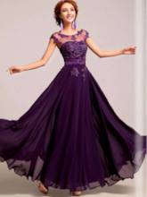 Bateau Neck Cap Sleeves Beading Appliques Evening Dress