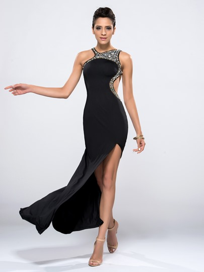 Beading Split Front Column Cross Strap EveningDress