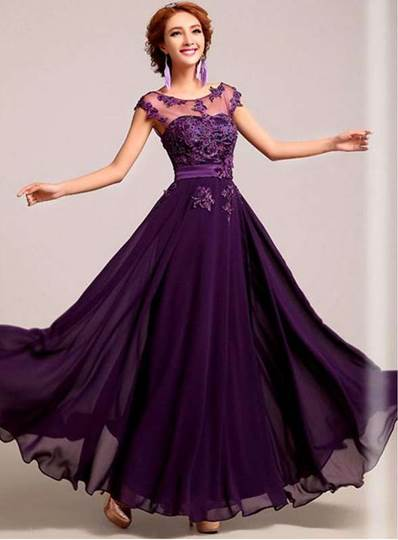 A-line Purple Bateau Neck Embroidery Evening Dress