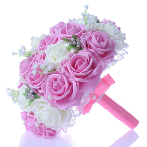 Best Lace Pearl White/Pink Rose Starry Sky Wedding Bouquet