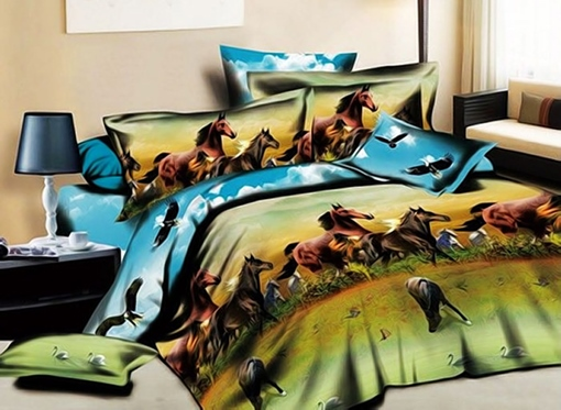 Running Horses Printed Cotton Rustic Style 4-Piece 3D Bedding Sets/Duvet Covers